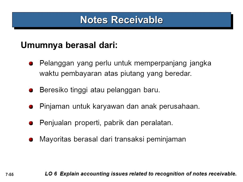 7-55 Notes Receivable LO 6 Explain accounting issues related to recognition of notes receivable.