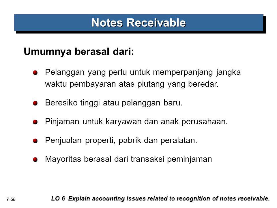 7-55 Notes Receivable LO 6 Explain accounting issues related to recognition of notes receivable. Umumnya berasal dari: Pelanggan yang perlu untuk memp