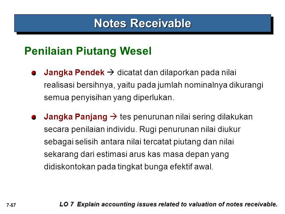 7-57 Notes Receivable LO 7 Explain accounting issues related to valuation of notes receivable. Jangka Pendek  dicatat dan dilaporkan pada nilai reali