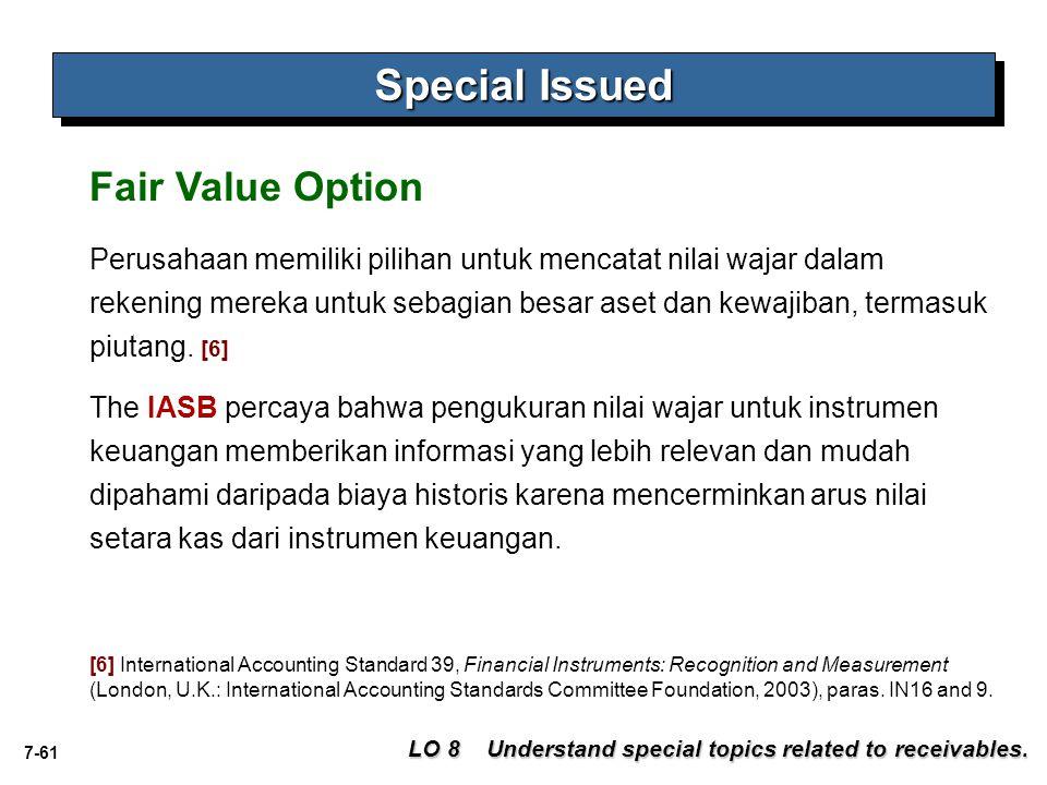 7-61 Special Issued LO 8 Understand special topics related to receivables. Fair Value Option Perusahaan memiliki pilihan untuk mencatat nilai wajar da