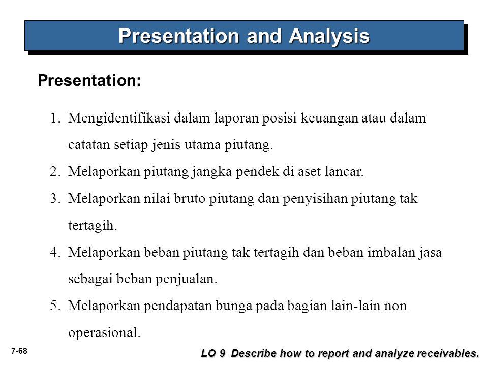 7-68 Presentation: 1.Mengidentifikasi dalam laporan posisi keuangan atau dalam catatan setiap jenis utama piutang. 2.Melaporkan piutang jangka pendek
