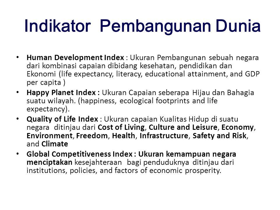 Indikator Pembangunan Dunia Human Development Index : Ukuran Pembangunan sebuah negara dari kombinasi capaian dibidang kesehatan, pendidikan dan Ekono