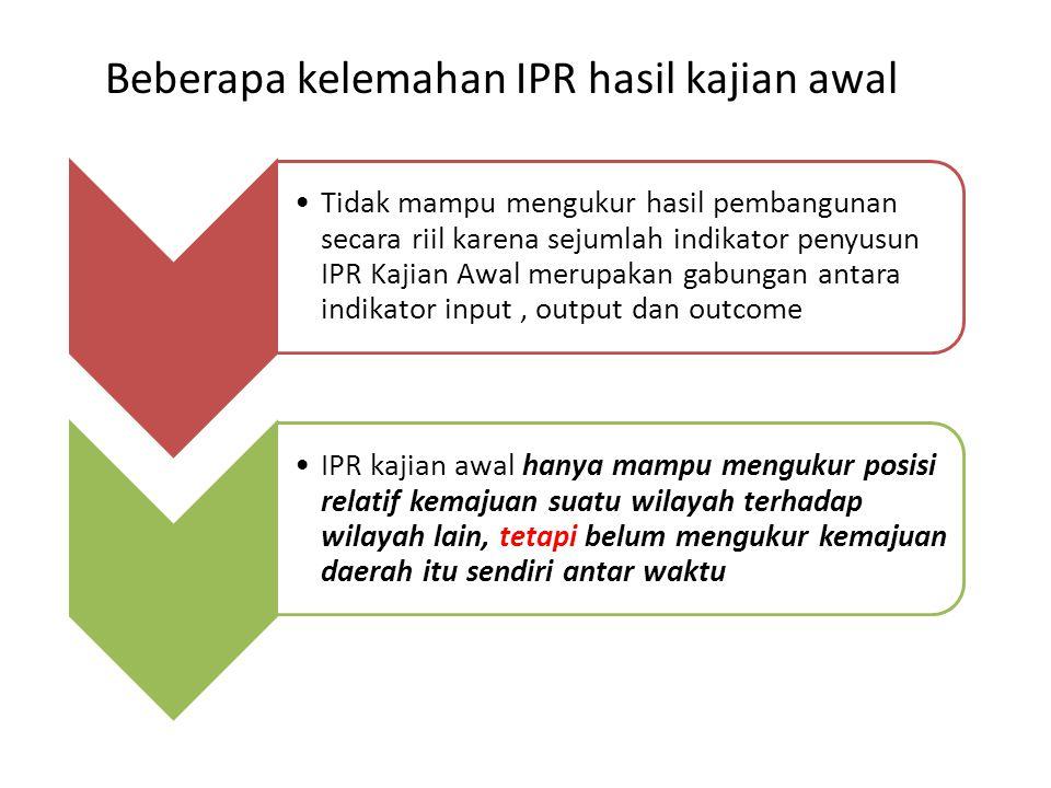Beberapa kelemahan IPR hasil kajian awal Tidak mampu mengukur hasil pembangunan secara riil karena sejumlah indikator penyusun IPR Kajian Awal merupak