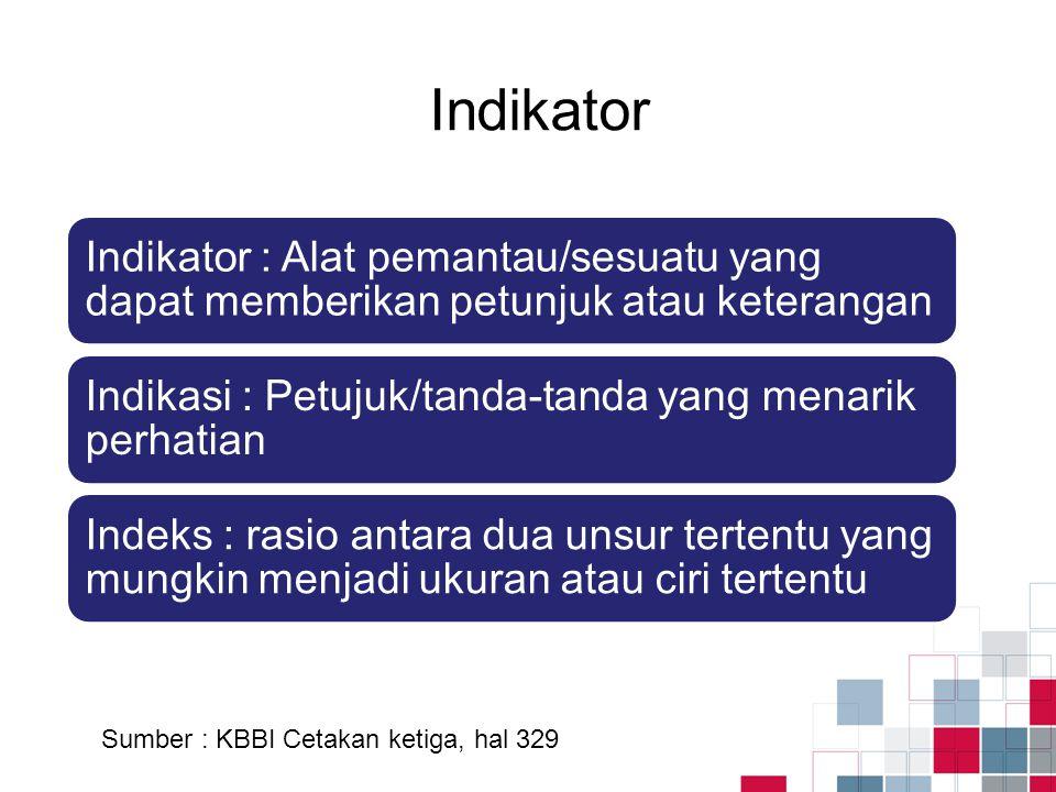 Indikator Sumber : KBBI Cetakan ketiga, hal 329 Indikator : Alat pemantau/sesuatu yang dapat memberikan petunjuk atau keterangan Indikasi : Petujuk/ta