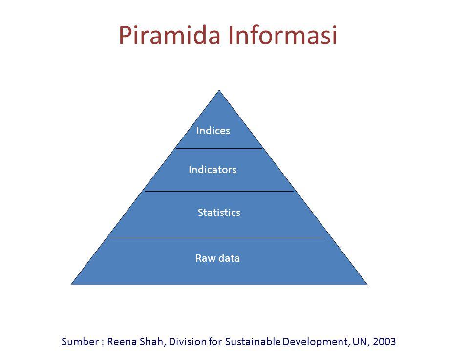 Piramida Informasi Indices Indicators Statistics Raw data Sumber : Reena Shah, Division for Sustainable Development, UN, 2003