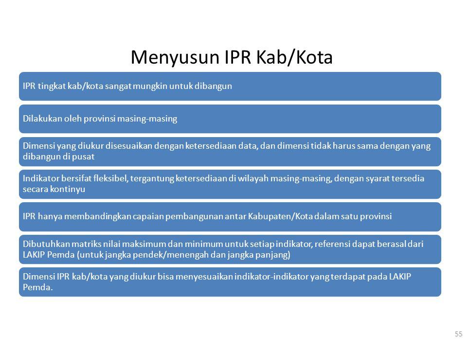 Menyusun IPR Kab/Kota 55 IPR tingkat kab/kota sangat mungkin untuk dibangunDilakukan oleh provinsi masing-masing Dimensi yang diukur disesuaikan denga