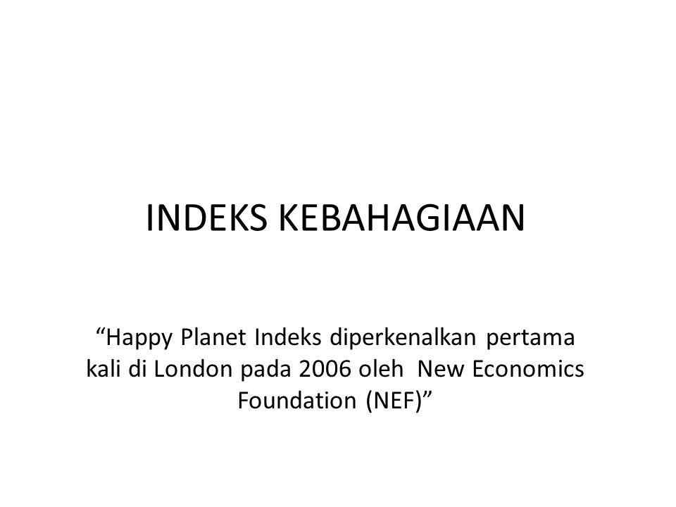 """INDEKS KEBAHAGIAAN """"Happy Planet Indeks diperkenalkan pertama kali di London pada 2006 oleh New Economics Foundation (NEF)"""""""