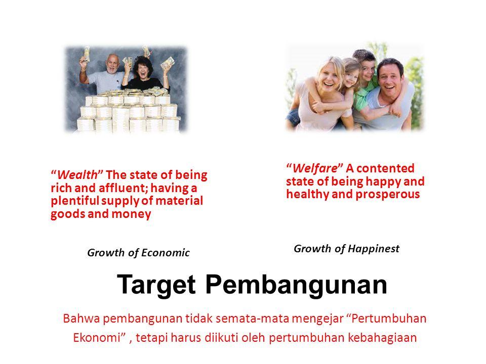 """""""Welfare"""" A contented state of being happy and healthy and prosperous Target Pembangunan Bahwa pembangunan tidak semata-mata mengejar """"Pertumbuhan Eko"""