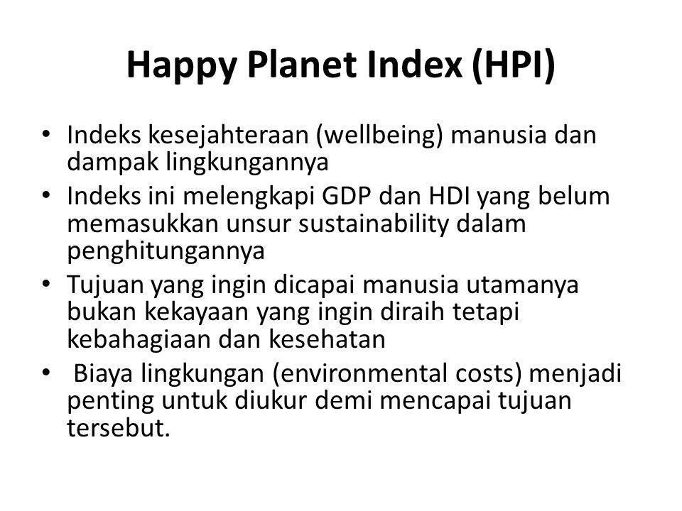 Happy Planet Index (HPI) Indeks kesejahteraan (wellbeing) manusia dan dampak lingkungannya Indeks ini melengkapi GDP dan HDI yang belum memasukkan uns
