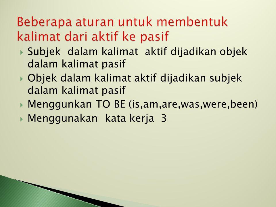 Subjek dalam kalimat aktif dijadikan objek dalam kalimat pasif  Objek dalam kalimat aktif dijadikan subjek dalam kalimat pasif  Menggunkan TO BE (is,am,are,was,were,been)  Menggunakan kata kerja 3