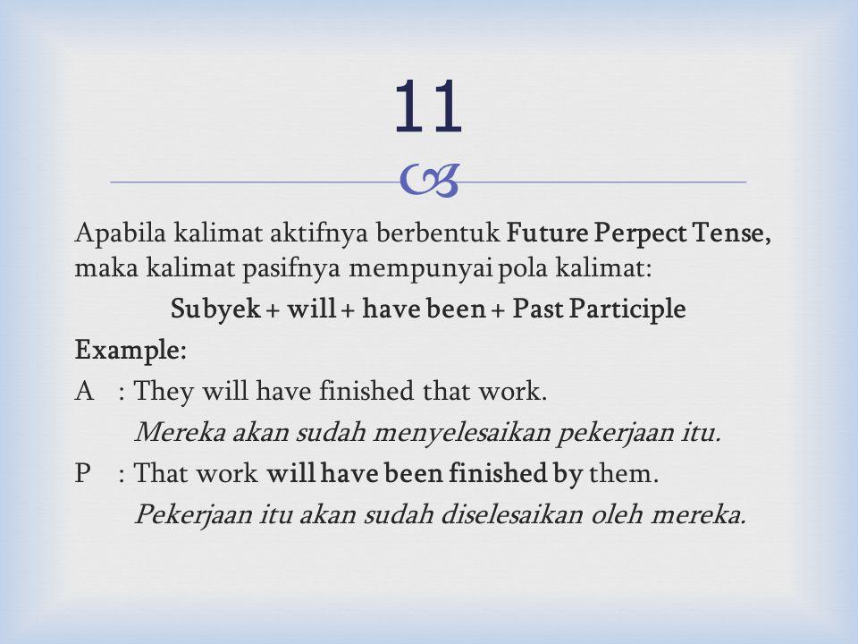  Apabila kalimat aktifnya berbentuk Future Perpect Tense, maka kalimat pasifnya mempunyai pola kalimat: Subyek + will + have been + Past Participle Example: A:They will have finished that work.