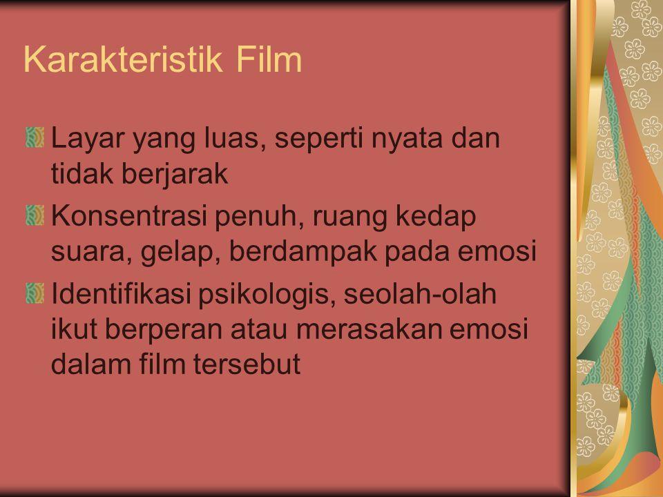 Karakteristik Film Layar yang luas, seperti nyata dan tidak berjarak Konsentrasi penuh, ruang kedap suara, gelap, berdampak pada emosi Identifikasi psikologis, seolah-olah ikut berperan atau merasakan emosi dalam film tersebut