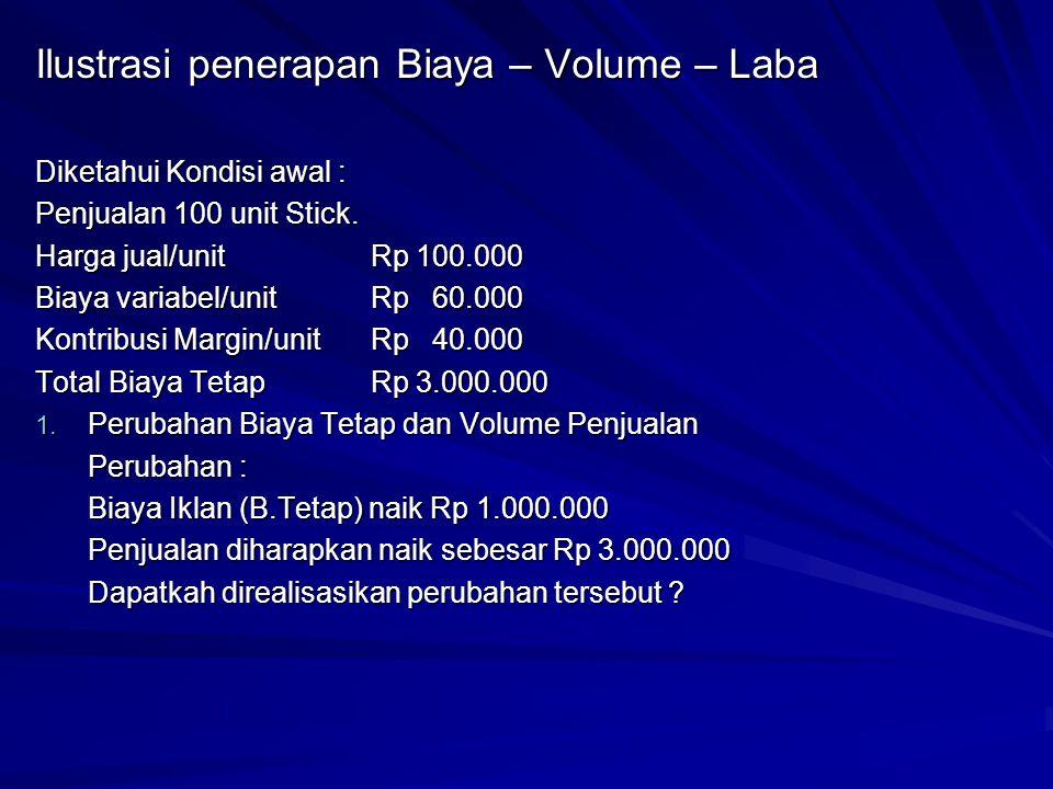 Ilustrasi penerapan Biaya – Volume – Laba Diketahui Kondisi awal : Penjualan 100 unit Stick. Harga jual/unitRp 100.000 Biaya variabel/unitRp 60.000 Ko