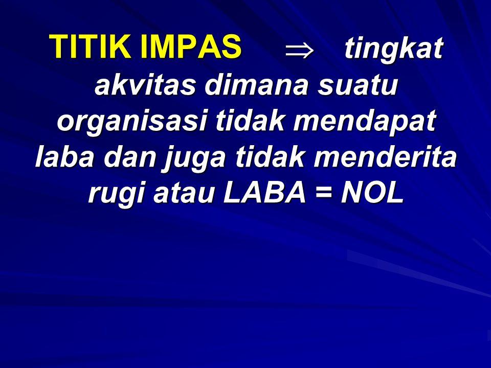 TITIK IMPAS  tingkat akvitas dimana suatu organisasi tidak mendapat laba dan juga tidak menderita rugi atau LABA = NOL