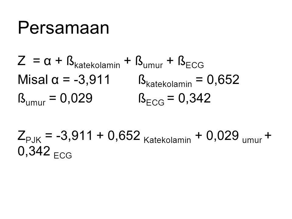Persamaan Z = α + ß katekolamin + ß umur + ß ECG Misal α = -3,911 ß katekolamin = 0,652 ß umur = 0,029 ß ECG = 0,342 Z PJK = -3,911 + 0,652 Katekolamin + 0,029 umur + 0,342 ECG