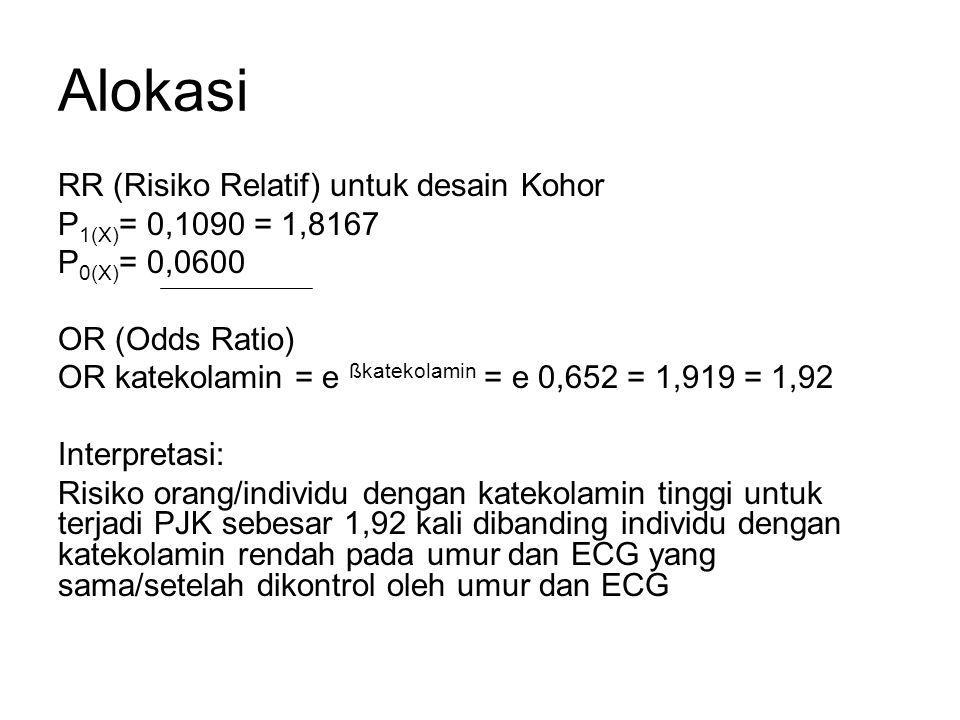 Alokasi RR (Risiko Relatif) untuk desain Kohor P 1(X) = 0,1090 = 1,8167 P 0(X) = 0,0600 OR (Odds Ratio) OR katekolamin = e ßkatekolamin = e 0,652 = 1,919 = 1,92 Interpretasi: Risiko orang/individu dengan katekolamin tinggi untuk terjadi PJK sebesar 1,92 kali dibanding individu dengan katekolamin rendah pada umur dan ECG yang sama/setelah dikontrol oleh umur dan ECG