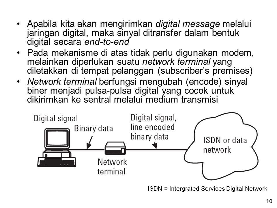 9 Bila digital message akan dikirimkan melalui kanal analog, maka kita memerlukan modem (modulator+demodulator) Modem menerima message yang berasal da