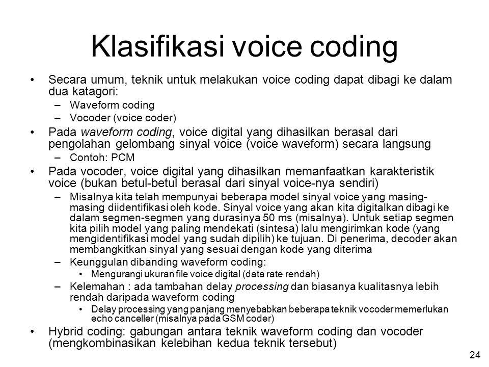 23 Binary Coding (Menentukan bit-bit biner yang merepresentasikan sinyal voice) Contoh untuk kurva A-law Setengah dari jumlah level diperuntukkan bagi