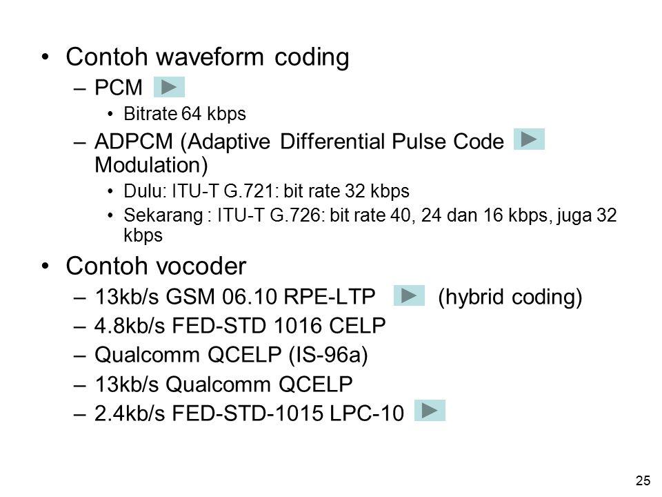 24 Klasifikasi voice coding Secara umum, teknik untuk melakukan voice coding dapat dibagi ke dalam dua katagori: –Waveform coding –Vocoder (voice code
