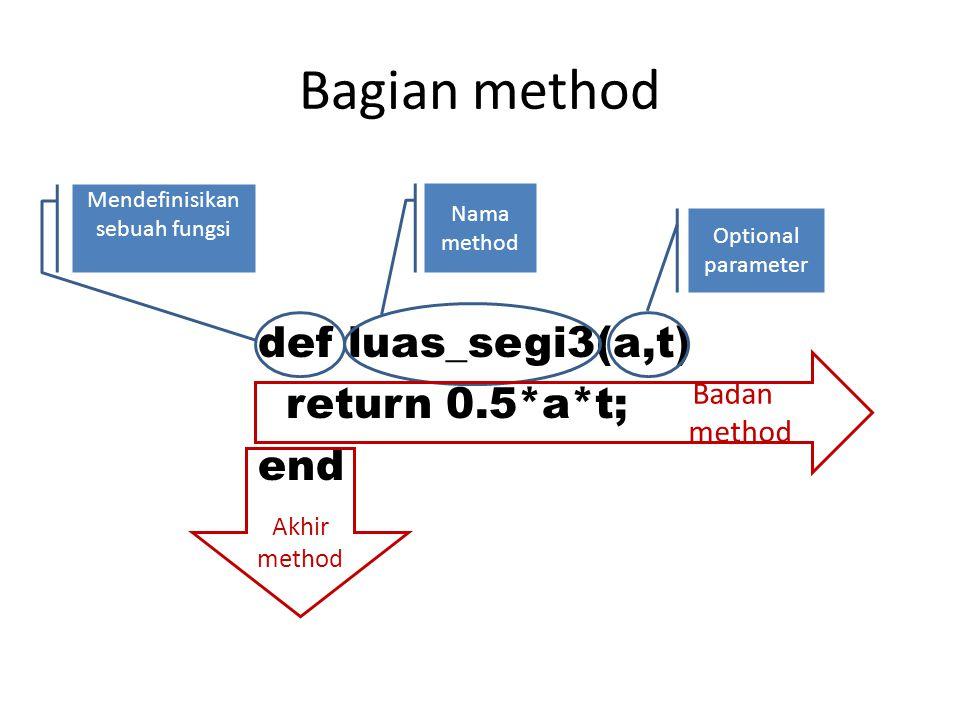 Contoh def luas_segi3(a,t) return 0.5*a*t; end alas=0, tinggi=0,luas=0.0; printf( ----------------\n\n ); printf( masukan alas : ); alas=gets.to_i; printf( masukan tinggi : ); tinggi=gets.to_i; luas=luas_segi3(alas,tinggi);#function call printf( maka luasnya : +luas.to_s);