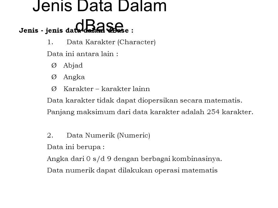 Jenis Data Dalam dBase Jenis - jenis data dalam dBase : 1. Data Karakter (Character) Data ini antara lain : Ø Abjad Ø Angka Ø Karakter – karakter lain
