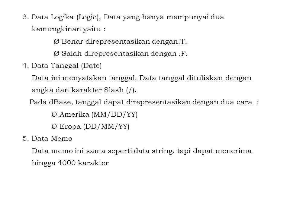 3. Data Logika (Logic), Data yang hanya mempunyai dua kemungkinan yaitu : Ø Benar direpresentasikan dengan.T. Ø Salah direpresentasikan dengan.F. 4. D