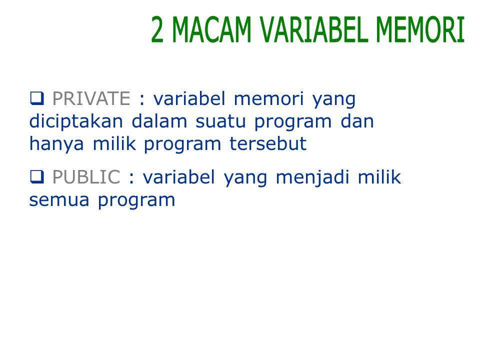 PRIVATE : variabel memori yang diciptakan dalam suatu program dan hanya milik program tersebut  PUBLIC : variabel yang menjadi milik semua program