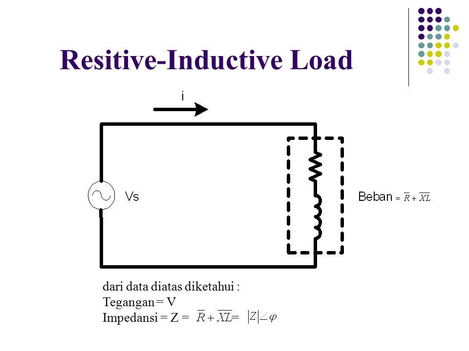 Resitive-Inductive Load dari data diatas diketahui : Tegangan = V Impedansi = Z = = =