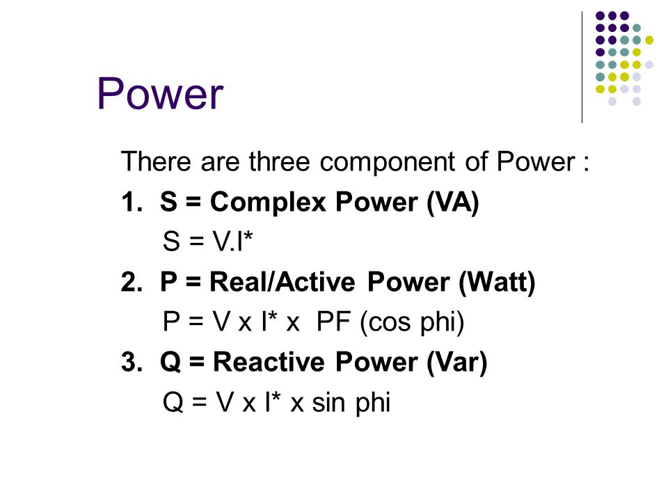 Phasor Diagram for Three Component of Power Relationship :