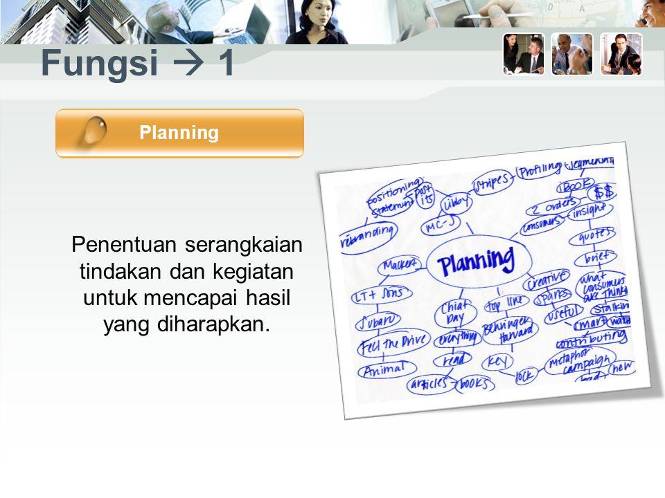 Fungsi  1 Penentuan serangkaian tindakan dan kegiatan untuk mencapai hasil yang diharapkan.