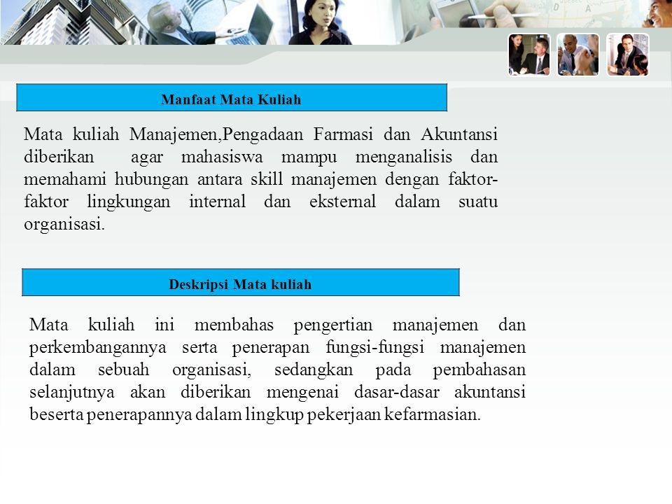 Kontrak Perkuliahan (Mid Test) Minggu Topik Bahasan Bacaan I Tujuan Pembelajaran dan kontrak perkuliahan, Membentuk kelompok kerja Pengantar dasar-dasar manajemen 1.Mulyadi, Sistem Perencanaan dan Pengendalian Manajemen, Penerbit Salemba Empat, Jakarta, 2007 2.Deselle P Shane and Zgarrick P David, Pharmacy Management,McGraw Hill,Singapore,2009 II Dapat memahami dan mampu Menjelaskan tentang organisasi dan Manajemen dalam perusahaan 1.Mulyadi, Sistem Perencanaan dan Pengendalian Manajemen, Penerbit Salemba Empat, Jakarta, 2007 2.Deselle P Shane and Zgarrick P David, Pharmacy Management,McGraw Hill,Singapore,2009 III Dapat memahami dan mampu menjelaskan Konsep perencanaan Dalam fungsi Manajemen (Planning) 1.Mulyadi, Sistem Perencanaan dan Pengendalian Manajemen, Penerbit Salemba Empat, Jakarta, 2007 2.Deselle P Shane and Zgarrick P David, Pharmacy Management,McGraw Hill,Singapore,2009