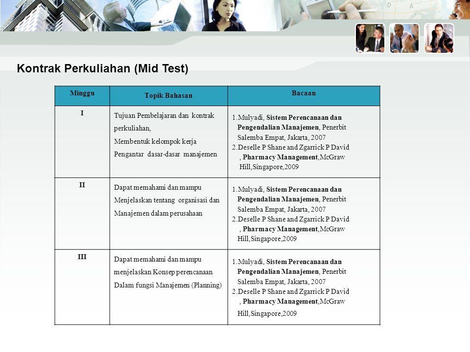 IV Dapat memahami dan mampu menjelaskan Konsep pengorganisasian Dalam fungsi Manajemen (Organizing) 1.Mulyadi, Sistem Perencanaan dan Pengendalian Manajemen, Penerbit Salemba Empat, Jakarta, 2007 2.Deselle P Shane and Zgarrick P David, Pharmacy Management,McGraw Hill,Singapore,2009 V Dapat memahami dan mampu menjelaskan Konsep pengarahan Dalam fungsi Manajemen (Leading) 1.Mulyadi, Sistem Perencanaan dan Pengendalian Manajemen, Penerbit Salemba Empat, Jakarta, 2007 2.Deselle P Shane and Zgarrick P David, Pharmacy Management,McGraw Hill,Singapore,2009 VI Dapat memahami dan mampu menjelaskan Konsep pengawasan/pengendalian Dalam fungsi Manajemen (Controlling) 1.Mulyadi, Sistem Perencanaan dan Pengendalian Manajemen, Penerbit Salemba Empat, Jakarta, 2007 2.Deselle P Shane and Zgarrick P David, Pharmacy Management,McGraw Hill,Singapore,2009 VII Mampu memahami dan mengimplementasikan konsep Kepemimpinan dalam organisasi 1.Covey R Stephen, The 7 Habits Effective People,McGraw Hill,Singapore,2000 2.Covey R Stephen, Principle Centered Leadership,McGraw Hill,Singapore,2000 UTS