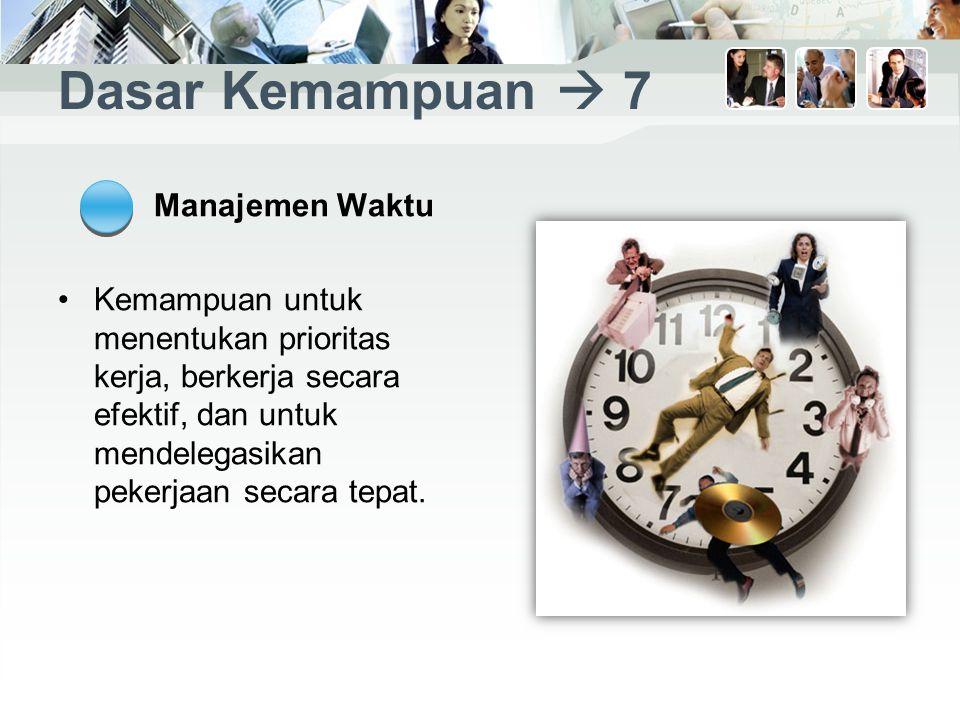 Dasar Kemampuan  7 Manajemen Waktu Kemampuan untuk menentukan prioritas kerja, berkerja secara efektif, dan untuk mendelegasikan pekerjaan secara tepat.