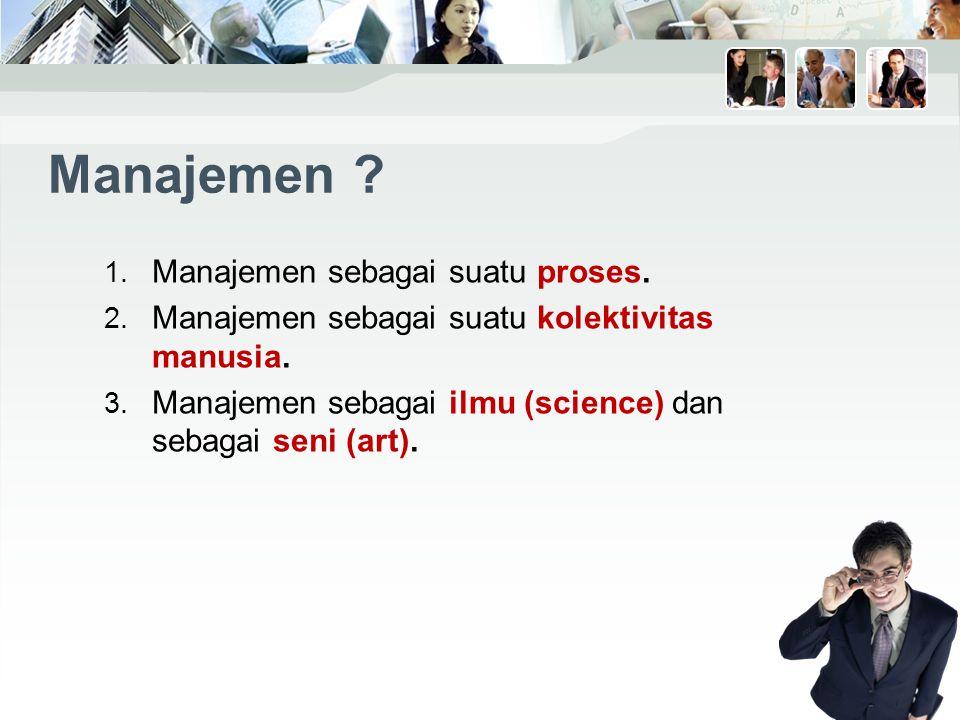 Manajemen .1. Manajemen sebagai suatu proses. 2. Manajemen sebagai suatu kolektivitas manusia.