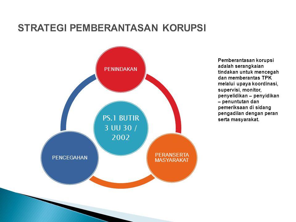 PS.1 BUTIR 3 UU 30 / 2002 PENINDAKAN PERANSERTA MASYARAKAT PENCEGAHAN Pemberantasan korupsi adalah serangkaian tindakan untuk mencegah dan memberantas
