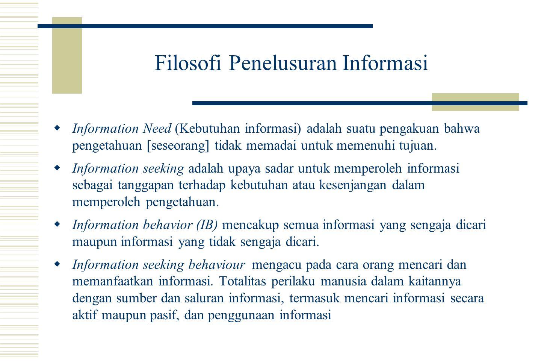Filosofi Penelusuran Informasi  Information Need (Kebutuhan informasi) adalah suatu pengakuan bahwa pengetahuan [seseorang] tidak memadai untuk memenuhi tujuan.