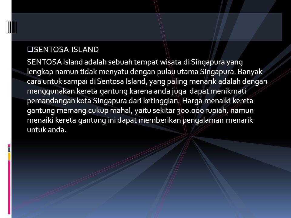  SENTOSA ISLAND SENTOSA Island adalah sebuah tempat wisata di Singapura yang lengkap namun tidak menyatu dengan pulau utama Singapura. Banyak cara un