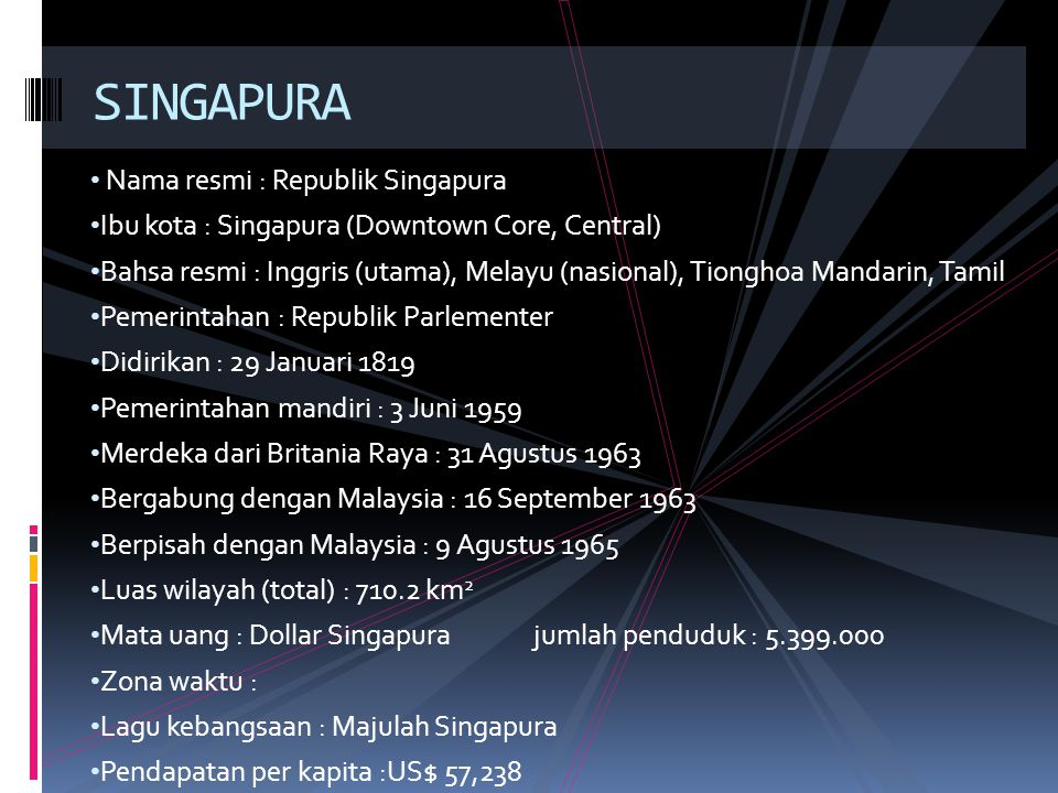 Nama resmi : Republik Singapura Ibu kota : Singapura (Downtown Core, Central) Bahsa resmi : Inggris (utama), Melayu (nasional), Tionghoa Mandarin, Tam