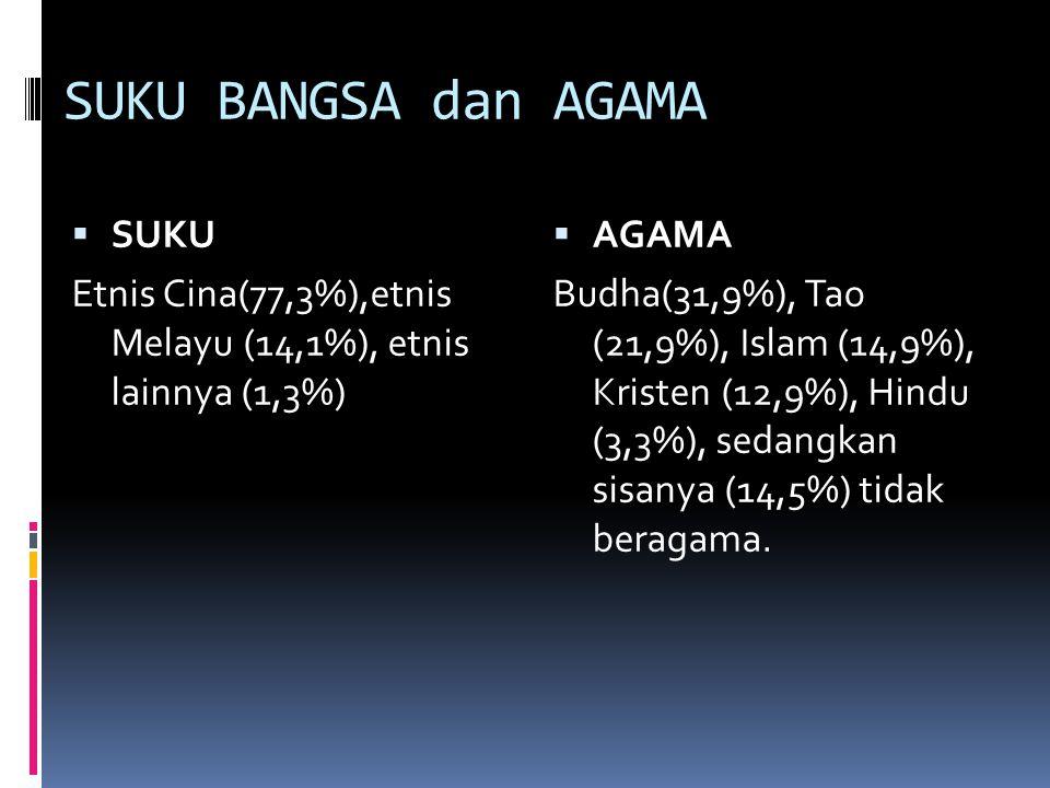 SUKU BANGSA dan AGAMA  SUKU Etnis Cina(77,3%),etnis Melayu (14,1%), etnis lainnya (1,3%)  AGAMA Budha(31,9%), Tao (21,9%), Islam (14,9%), Kristen (12,9%), Hindu (3,3%), sedangkan sisanya (14,5%) tidak beragama.