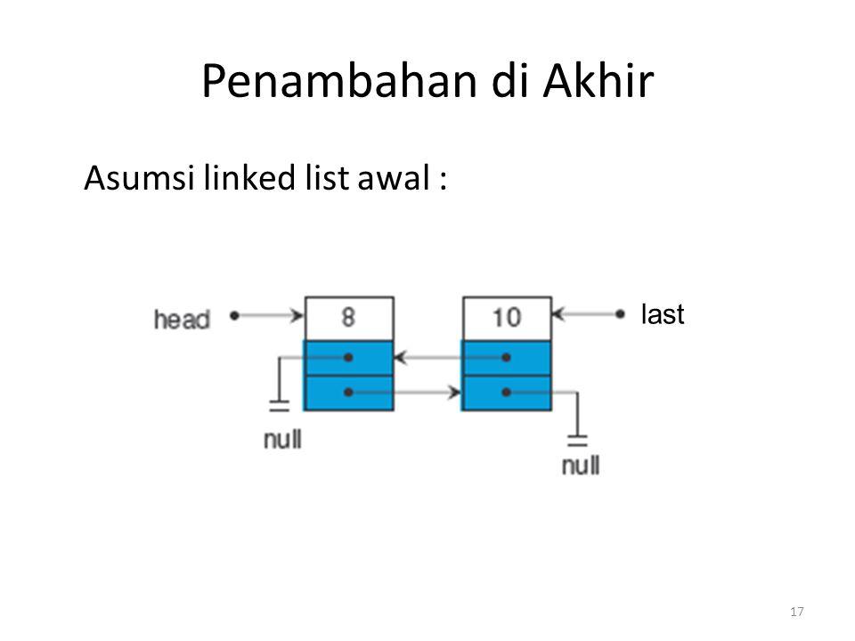 17 Penambahan di Akhir Asumsi linked list awal : last