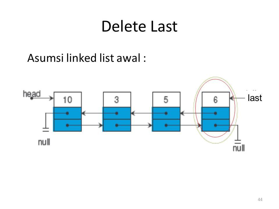44 Delete Last Asumsi linked list awal : last