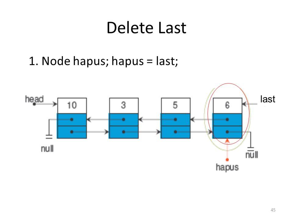45 Delete Last 1. Node hapus; hapus = last; last