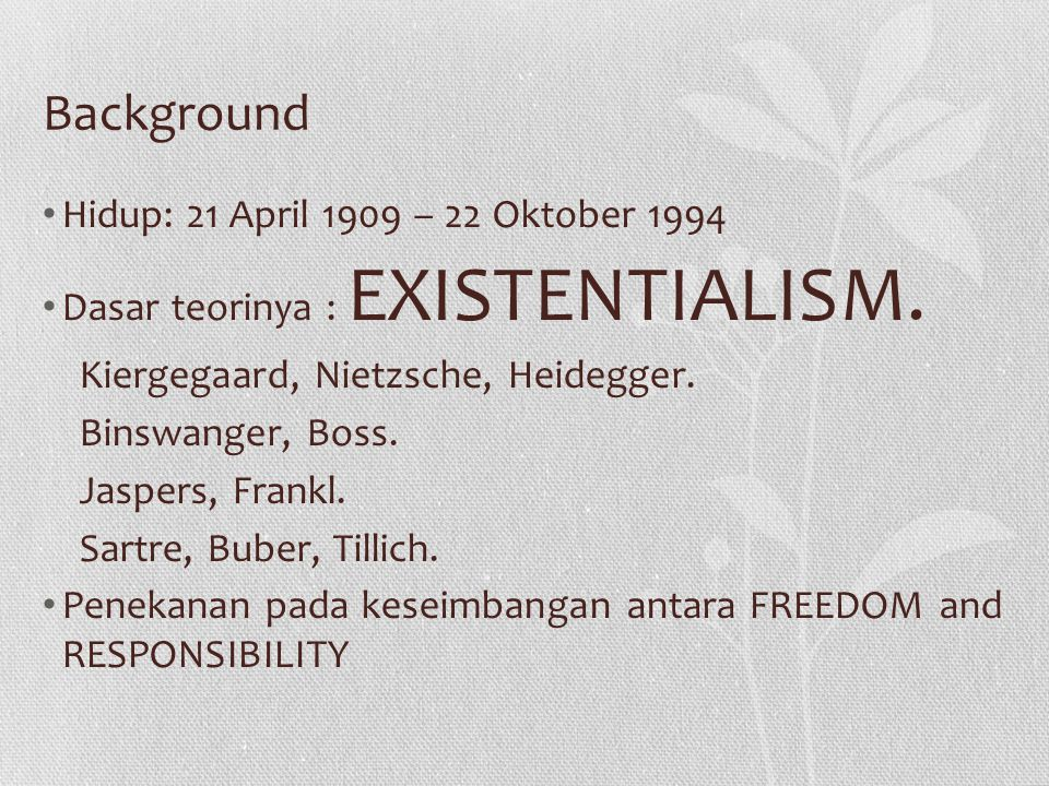 Background Hidup: 21 April 1909 – 22 Oktober 1994 Dasar teorinya : EXISTENTIALISM. Kiergegaard, Nietzsche, Heidegger. Binswanger, Boss. Jaspers, Frank