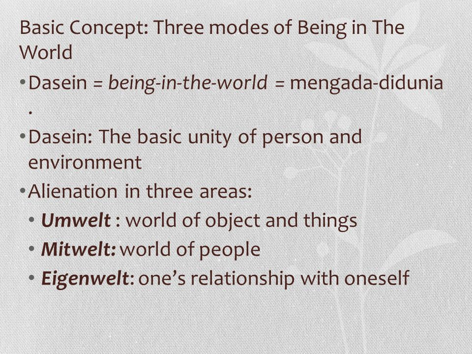 Basic Concept: Three modes of Being in The World Dasein = being-in-the-world = mengada-didunia. Dasein: The basic unity of person and environment Alie
