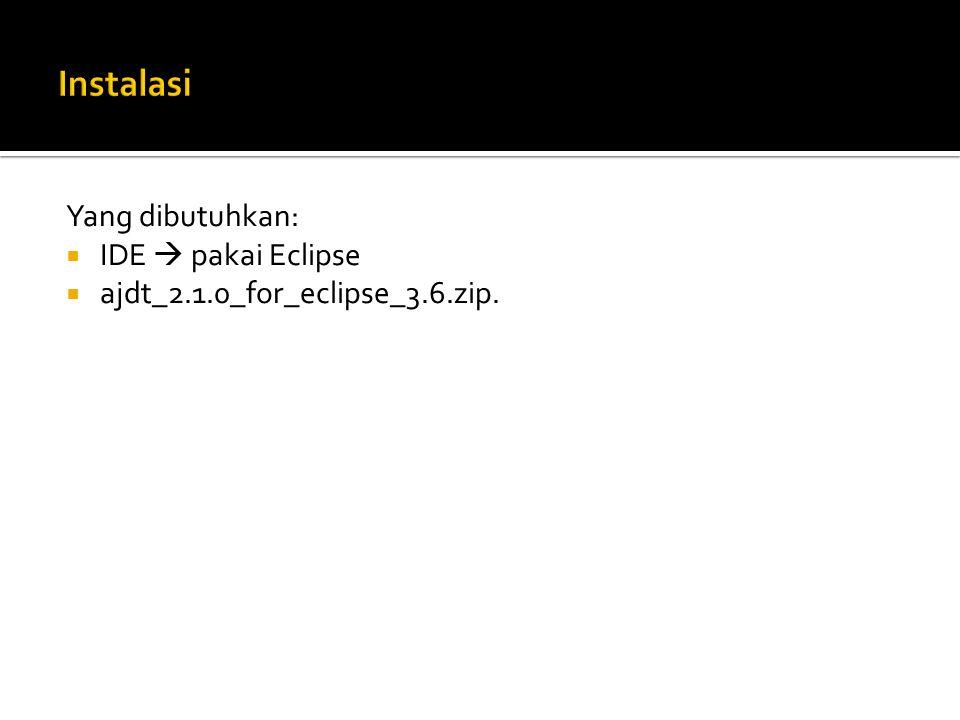 Yang dibutuhkan:  IDE  pakai Eclipse  ajdt_2.1.0_for_eclipse_3.6.zip.