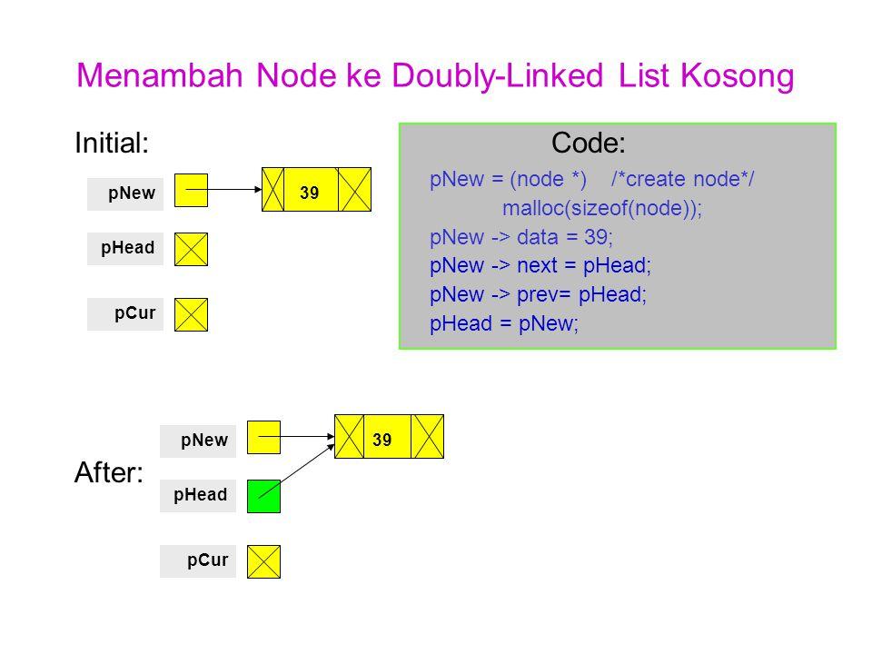 Menambah Node ke Doubly-Linked List Kosong Initial: Code: pNew = (node *) /*create node*/ malloc(sizeof(node)); pNew -> data = 39; pNew -> next = pHea