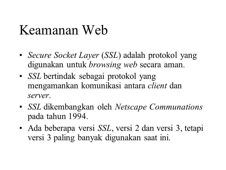 Keamanan Web Secure Socket Layer (SSL) adalah protokol yang digunakan untuk browsing web secara aman. SSL bertindak sebagai protokol yang mengamankan
