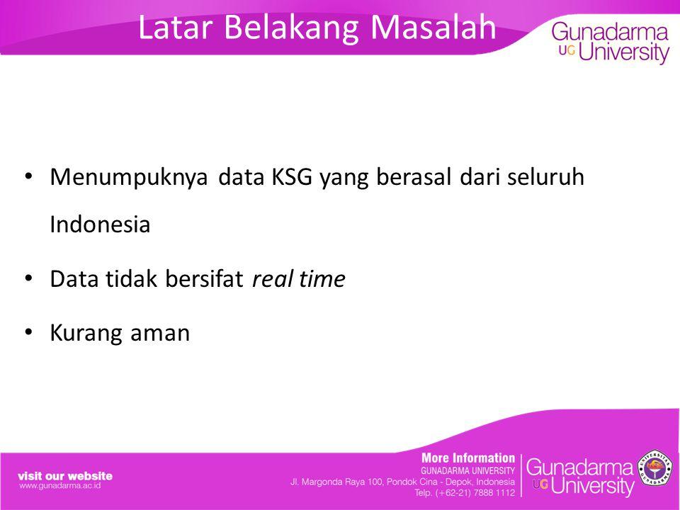 Latar Belakang Masalah Menumpuknya data KSG yang berasal dari seluruh Indonesia Data tidak bersifat real time Kurang aman