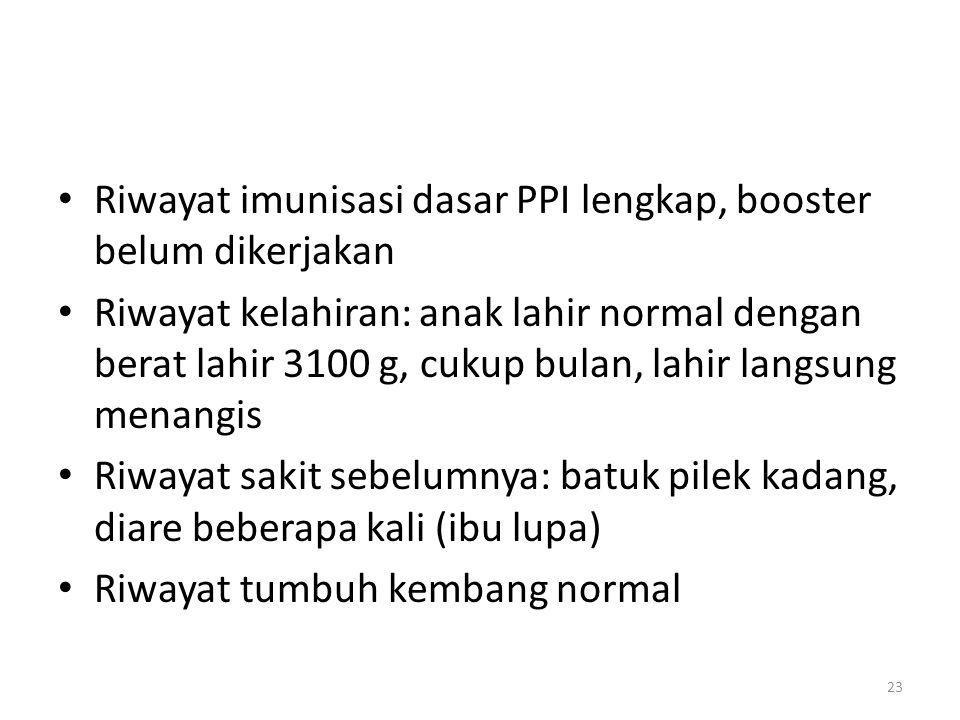 Riwayat imunisasi dasar PPI lengkap, booster belum dikerjakan Riwayat kelahiran: anak lahir normal dengan berat lahir 3100 g, cukup bulan, lahir langs