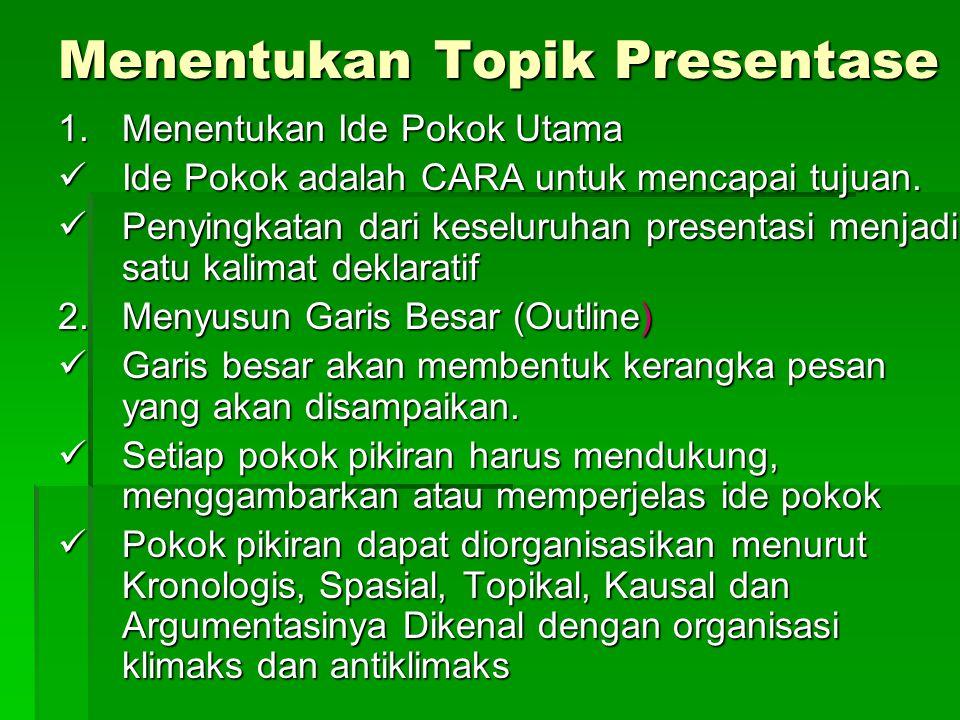 Menentukan Topik Presentase 1.Menentukan Ide Pokok Utama Ide Pokok adalah CARA untuk mencapai tujuan. Ide Pokok adalah CARA untuk mencapai tujuan. Pen